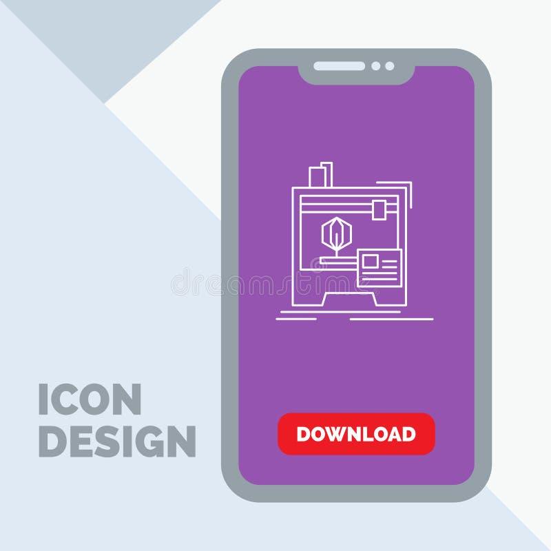 3d, dimensionale, macchina, stampante, linea di stampa icona in cellulare per la pagina di download royalty illustrazione gratis