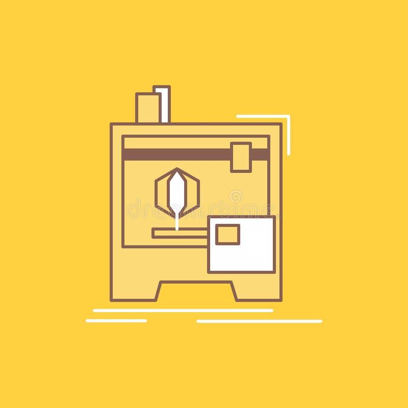 3d, dimensionale, macchina, stampante, linea piana di stampa ha riempito l'icona Bello bottone di logo sopra fondo giallo per UI  royalty illustrazione gratis