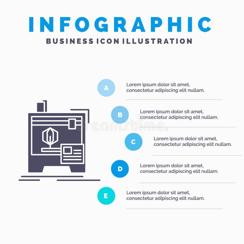 3d, dimensionale, macchina, stampante, stampando il modello di Infographics per il sito Web e la presentazione Icona grigia di gl royalty illustrazione gratis