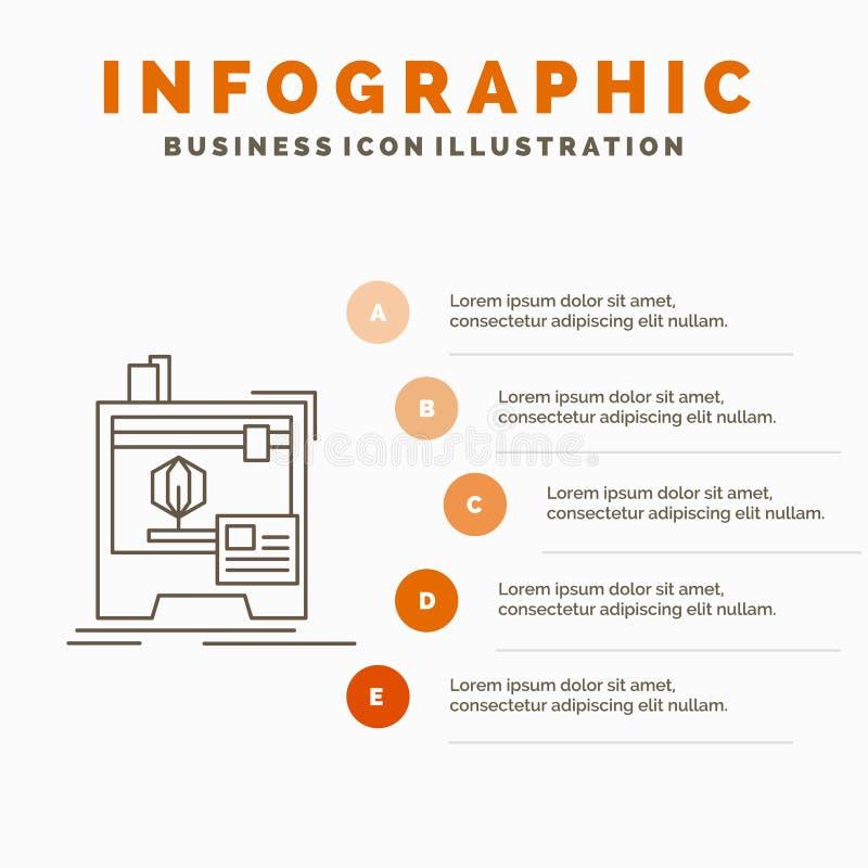 3d, dimensionale, macchina, stampante, stampando il modello di Infographics per il sito Web e la presentazione Linea icona grigia illustrazione vettoriale