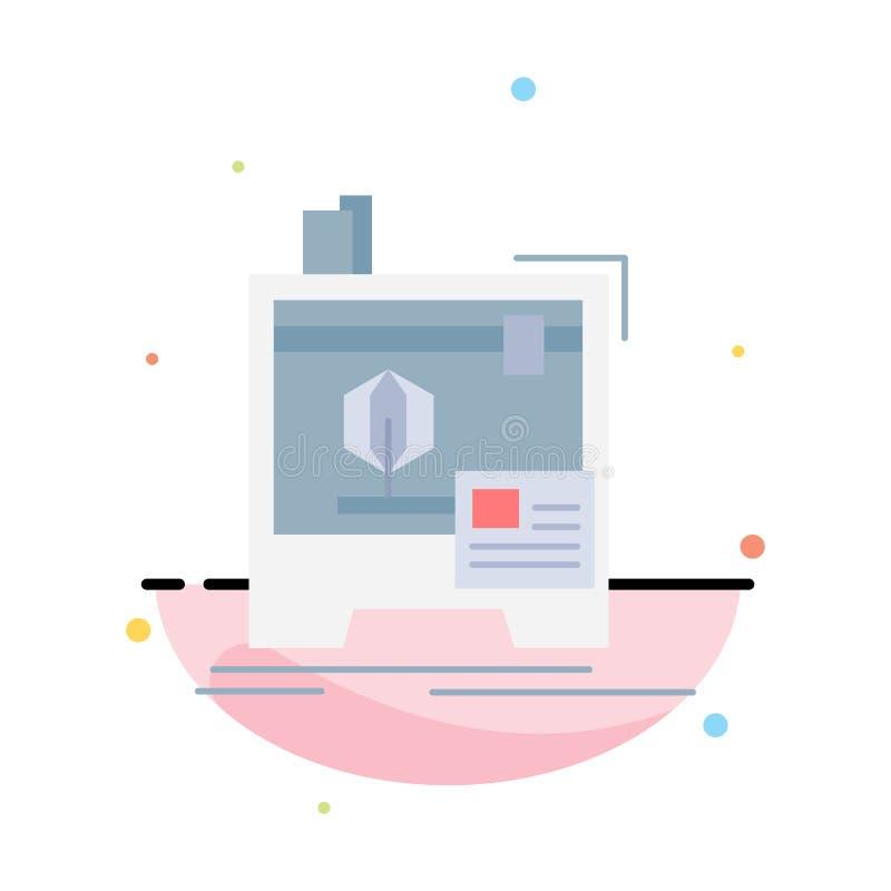 3d, dimensionale, macchina, stampante, stampante vettore piano dell'icona di colore illustrazione vettoriale
