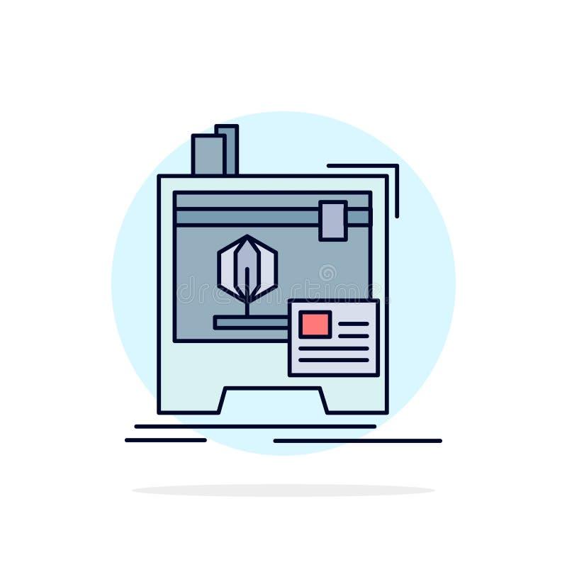 3d, dimensionale, macchina, stampante, stampante vettore piano dell'icona di colore royalty illustrazione gratis