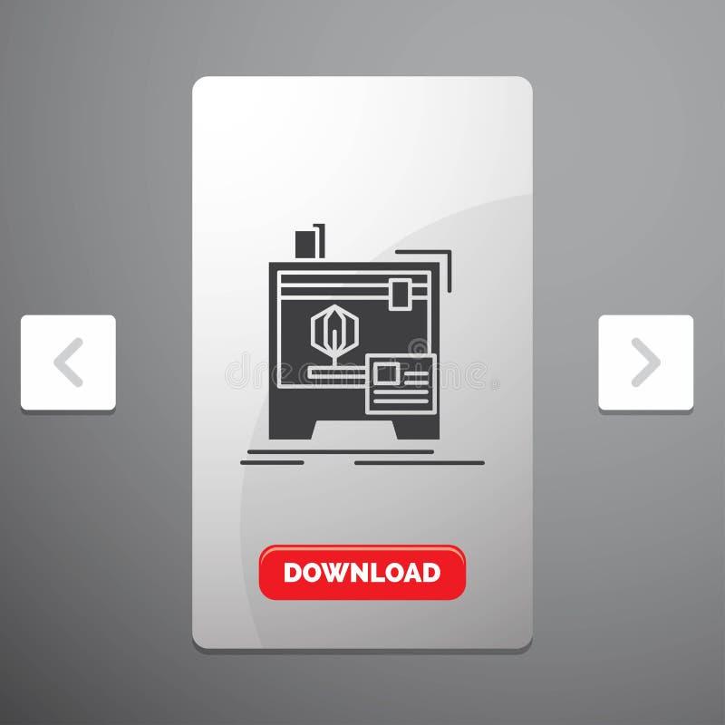 3d, dimensionale, macchina, stampatrice, icona di glifo di stampa nella progettazione del cursore di impaginazioni di Carousal &  illustrazione di stock