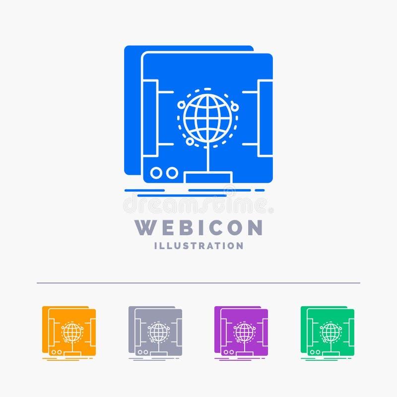 3d, dimensionale, olografico, ricerca, modello dell'icona di web di glifo di colore dell'analizzatore 5 isolato su bianco Illustr illustrazione di stock