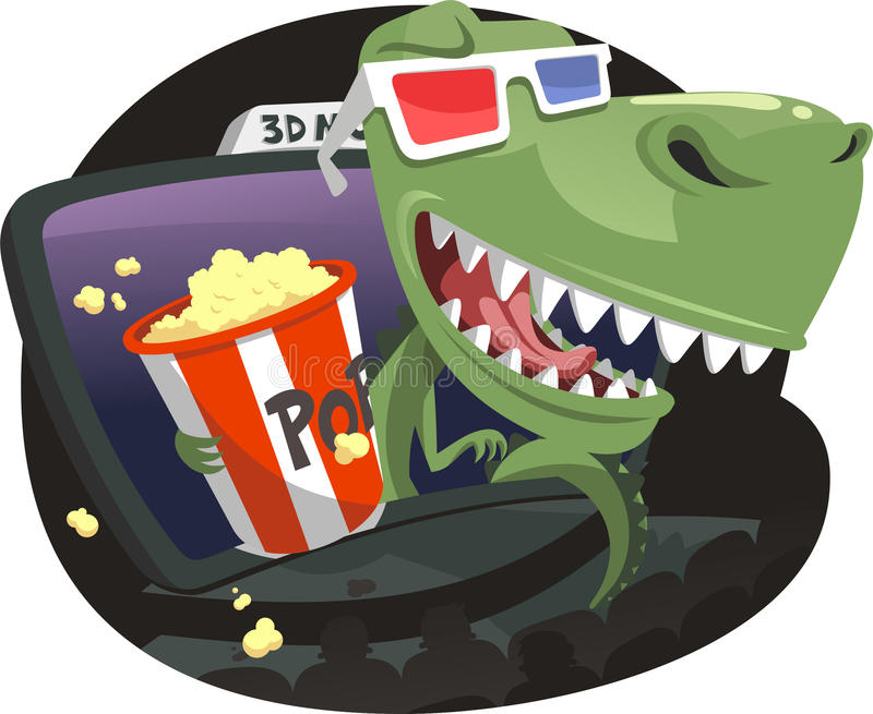 3D Dinosaur jumping out of screen in Movie Theater stock illustration