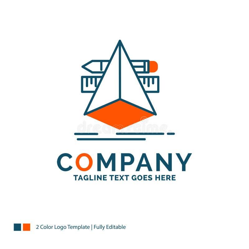 3d, diseño, diseñador, bosquejo, herramientas Logo Design Azul y naranja ilustración del vector