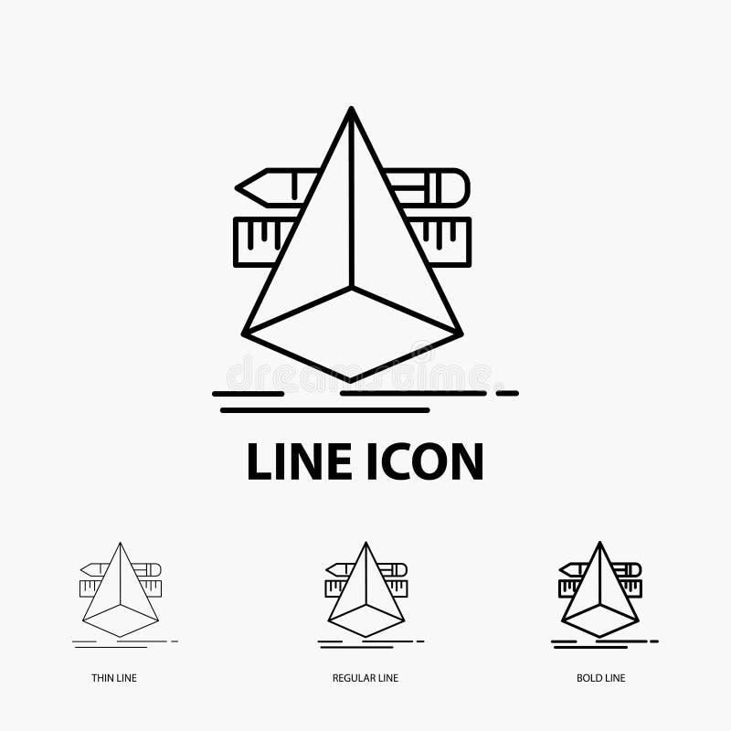 3d, diseño, diseñador, bosquejo, icono de las herramientas en la línea estilo fina, regular e intrépida Ilustraci?n del vector ilustración del vector
