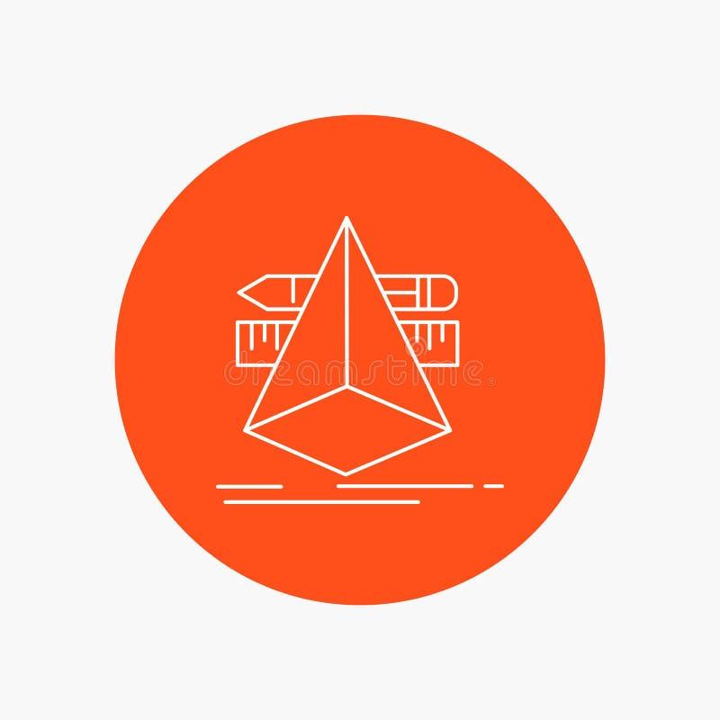 3d, diseño, diseñador, bosquejo, línea blanca icono de las herramientas en fondo del círculo Ejemplo del icono del vector libre illustration
