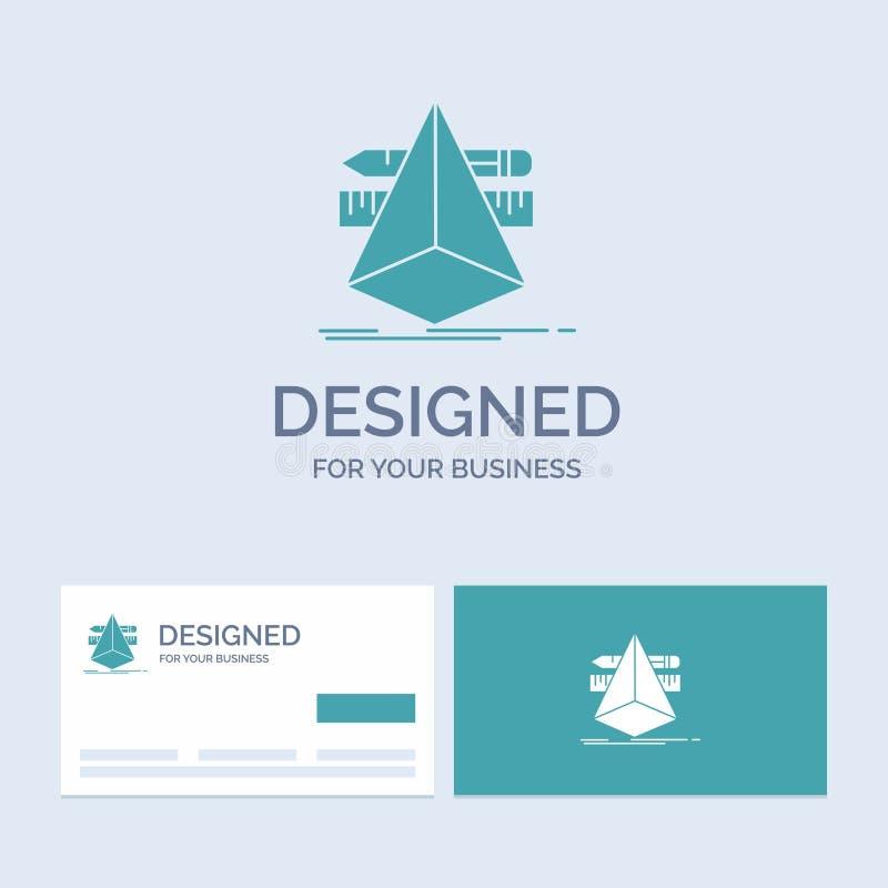 3d, diseño, diseñador, bosquejo, negocio Logo Glyph Icon Symbol de las herramientas para su negocio Tarjetas de visita de la turq stock de ilustración
