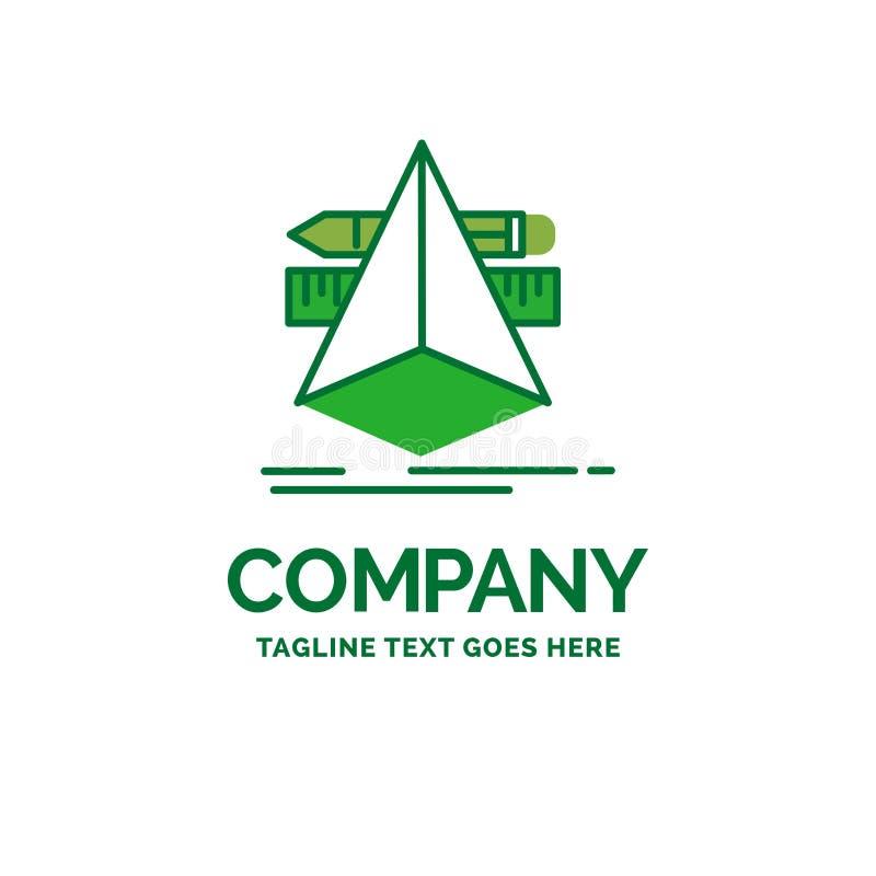 3d, diseño, diseñador, bosquejo, plantilla plana del logotipo del negocio de las herramientas libre illustration