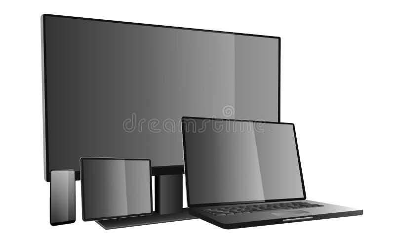 3d dispositivos ordenador portátil, tableta, teléfono, smartphone, pantallas de monitor Ilustraci?n del vector stock de ilustración