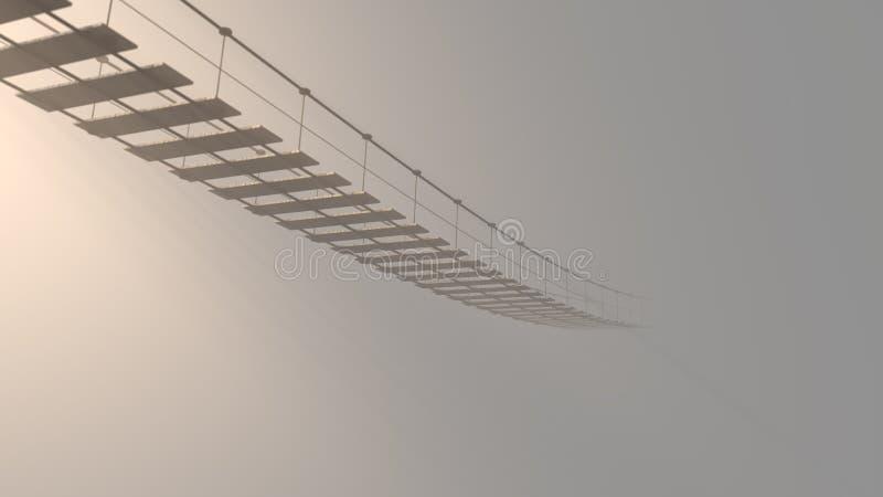 3D distorcido na ponte de suspensão que desaparece na névoa ilustração royalty free