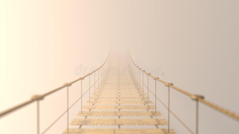 3D distorcido na ponte de suspensão que desaparece na névoa ilustração stock