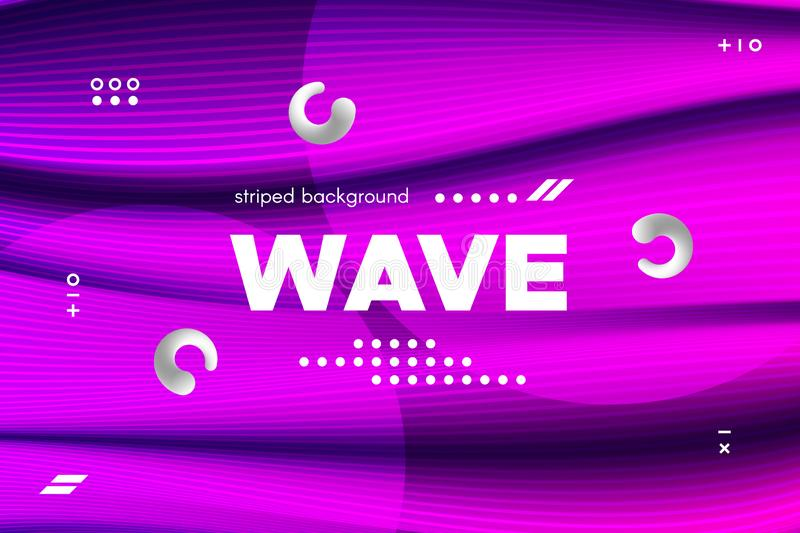 3d Distorted Wave Stripes and Ripple of Surface. royalty free illustration