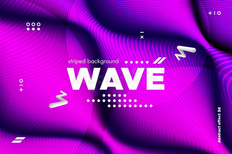 3d Distorted Wave Stripes and Ripple of Surface. vector illustration