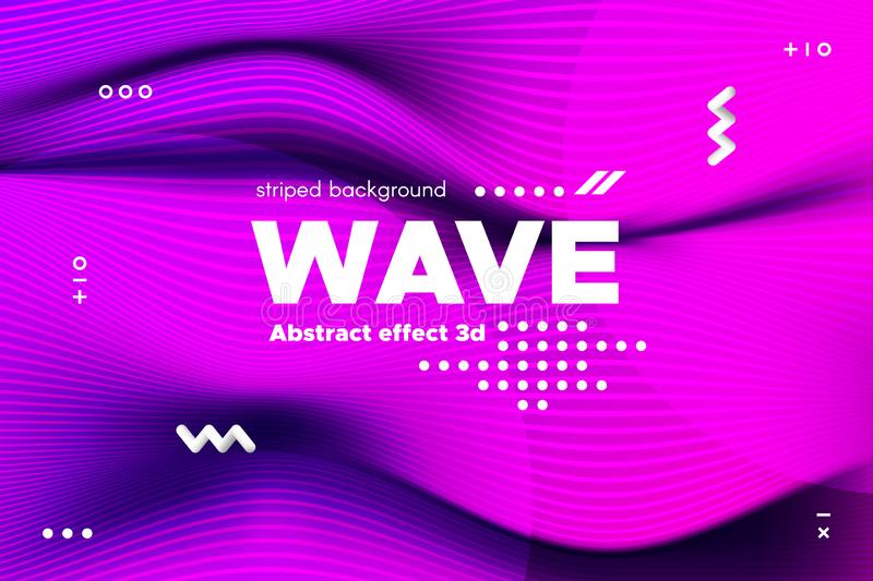 3d Distorted Wave Stripes and Ripple of Surface. stock illustration