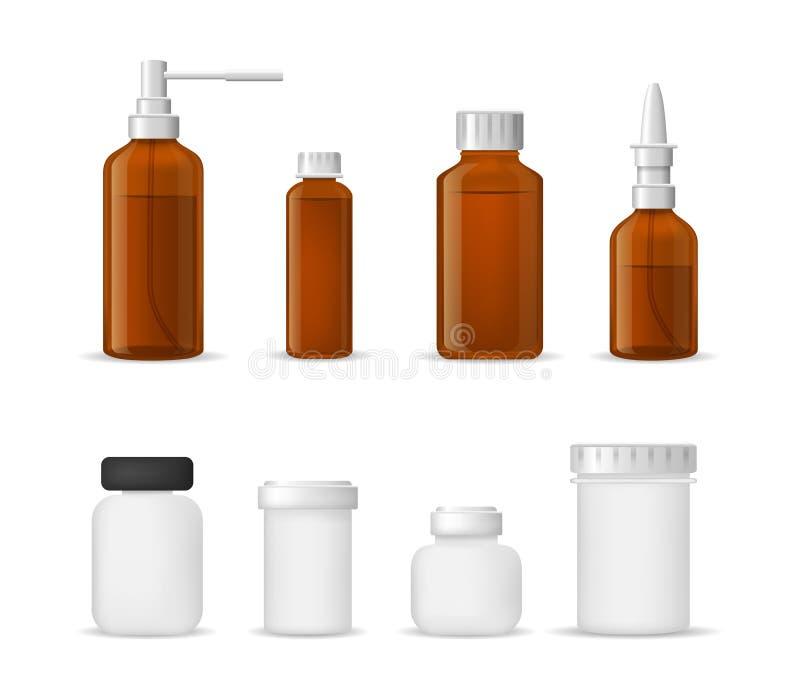 3d diversos tipos detallados realistas sistema médico del cristal de botellas Vector stock de ilustración