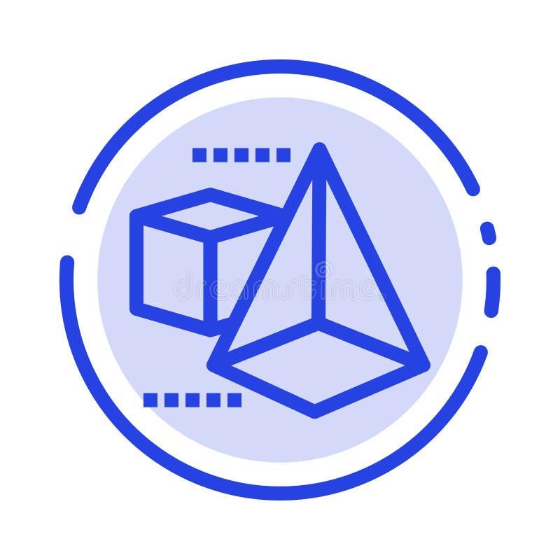 3d 3dModel, Doos, de Lijnpictogram van de Driehoeks Blauw Gestippelde Lijn royalty-vrije illustratie