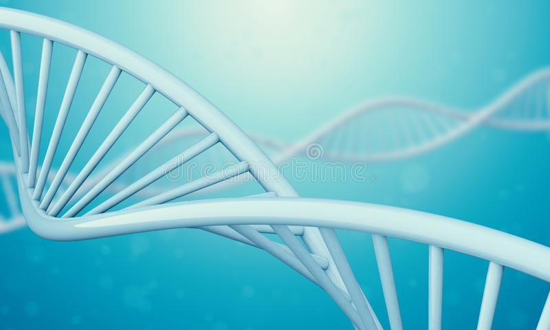 3d Dna in blue liquid. A bright white 3D rendered DNA with a blue bokeh background.3d rendering - Illustration stock illustration