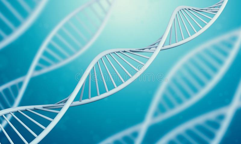 3d Dna in blue liquid. A bright white 3D rendered DNA with a blue bokeh background.3d rendering - Illustration royalty free illustration