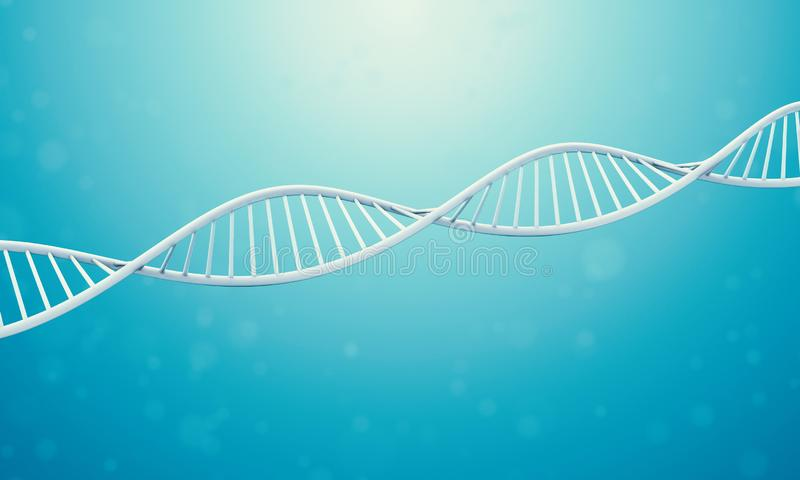 3d Dna in blue liquid. A bright white 3D rendered DNA with a blue bokeh background.3d rendering - Illustration vector illustration