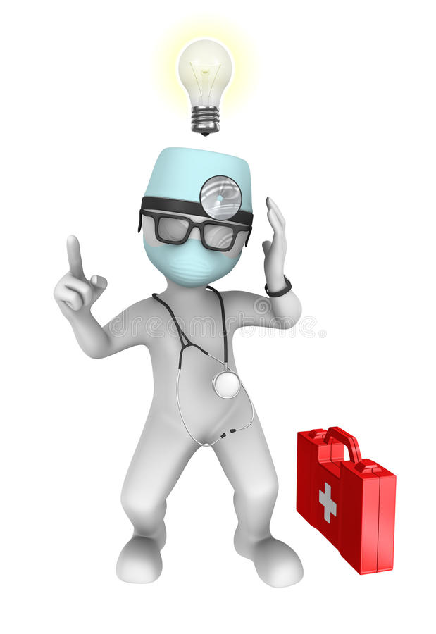 3d doctor with idea. vector illustration