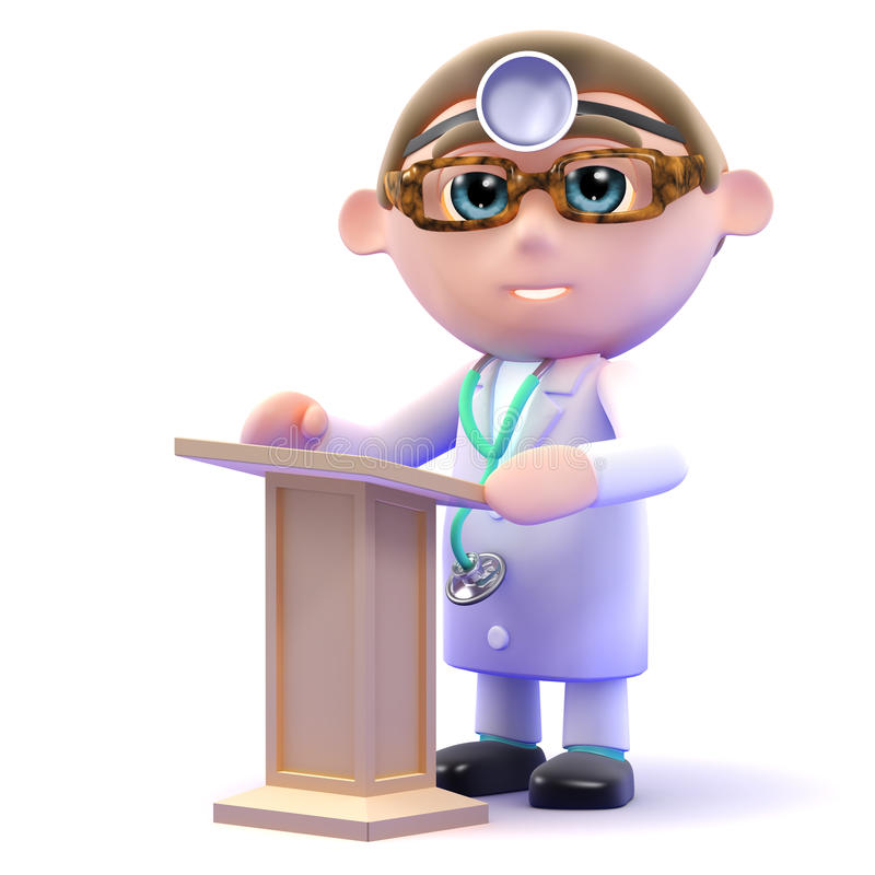 3d Doctor At The Lectern Stock Illustration