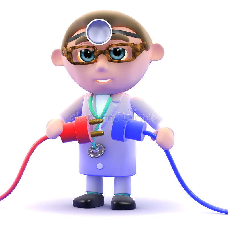 3d Doctor plugs in the power. 3d render of a doctor holding two power cords royalty free illustration