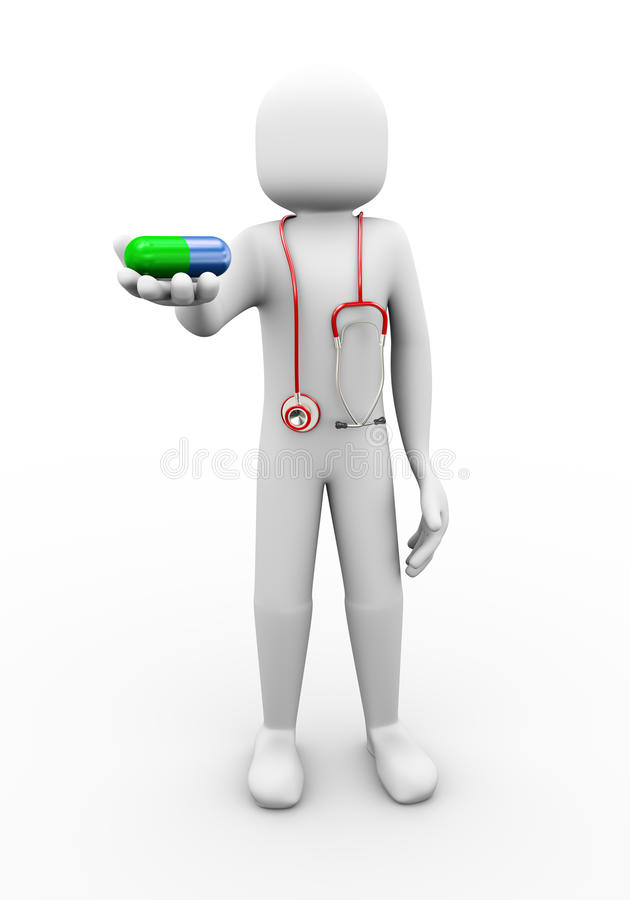 Download 3d Doctor With Stethoscope Offering Pill Illustration Stock Illustration - Illustration of expert, chemist: 34699234