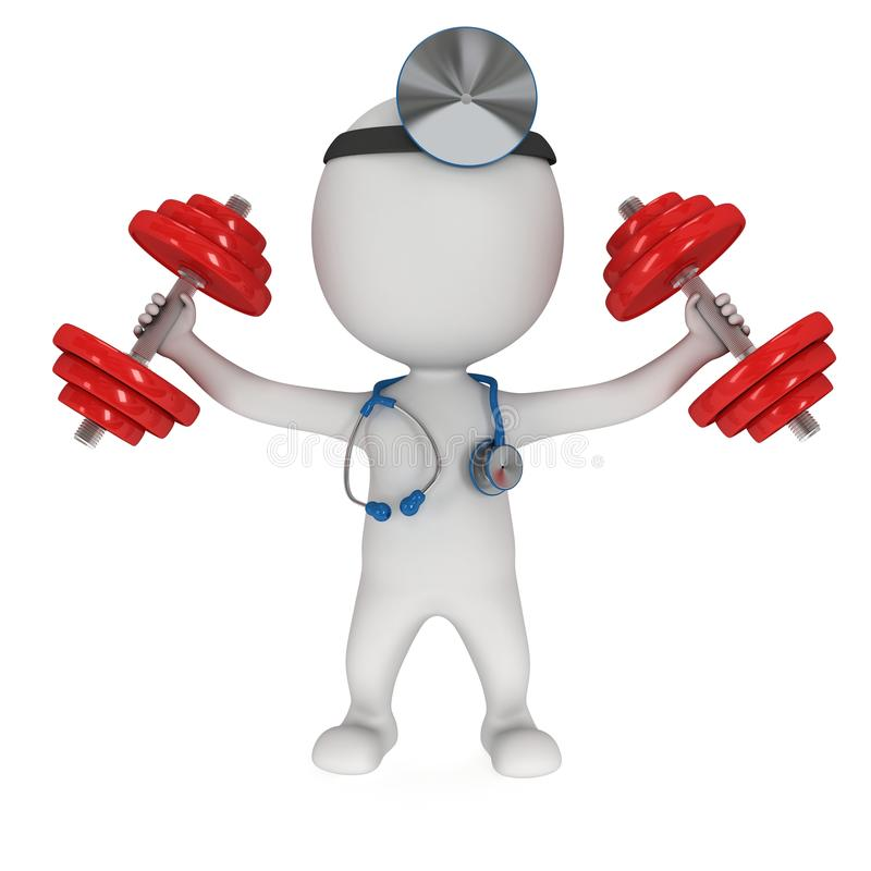 3d doctor with stethoscope and red dumbbells. 3d white people doctor with a stethoscope and red dumbbells doing exercise. 3d render on white. Fitness and stock illustration