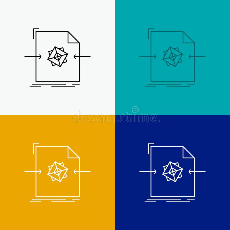 3d, document, file, object, processing Icon Over Various Background. Line style design, designed for web and app. Eps 10 vector. Illustration. Vector EPS10 vector illustration