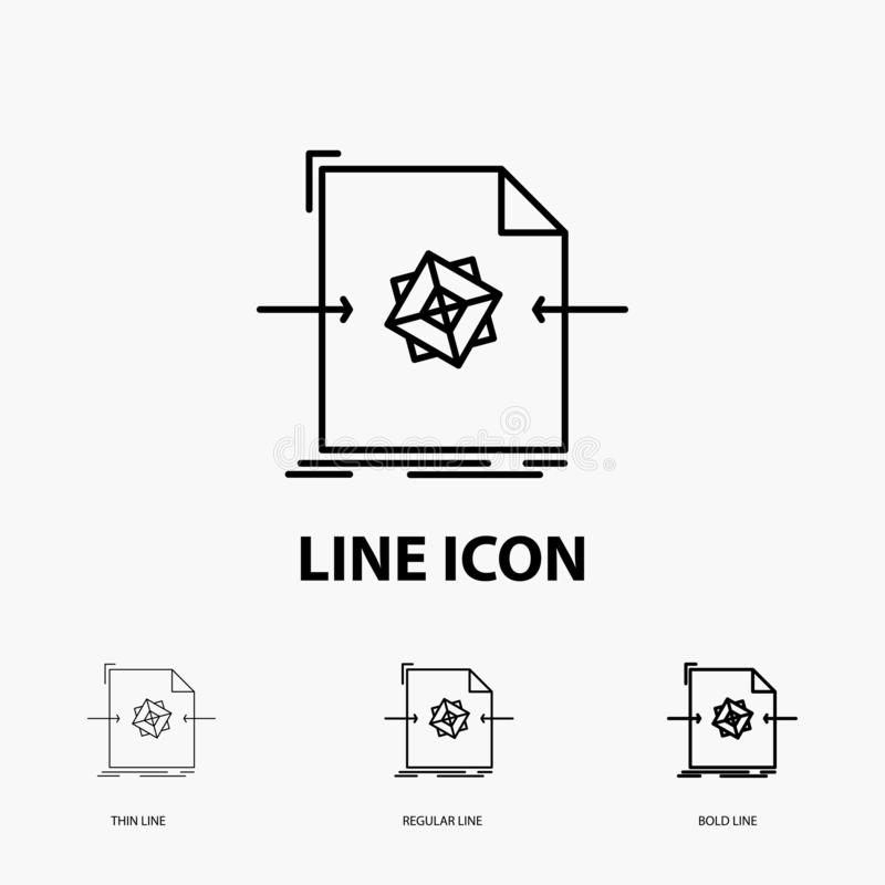 3d, document, file, object, processing Icon in Thin, Regular and Bold Line Style. Vector illustration. Vector EPS10 Abstract Template background vector illustration