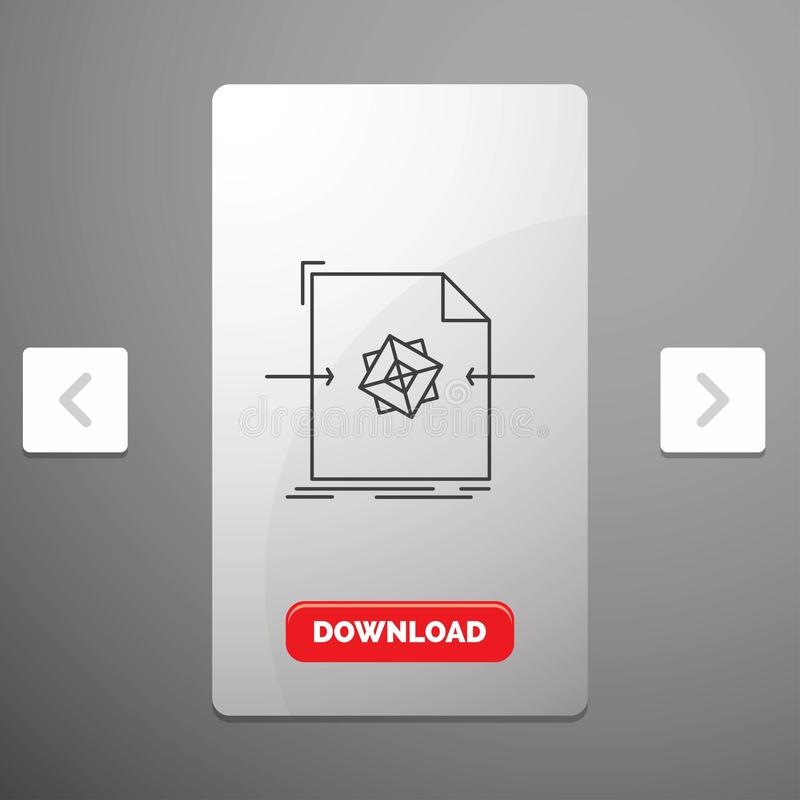 3d, document, file, object, processing Line Icon in Carousal Pagination Slider Design & Red Download Button. Vector EPS10 Abstract Template background vector illustration