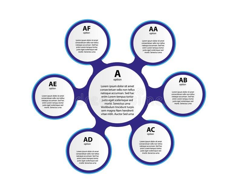 3d document infographic elementen voor zes opties Metaball bedrijfsinfographics Malplaatje voor infographic cirkel stock illustratie