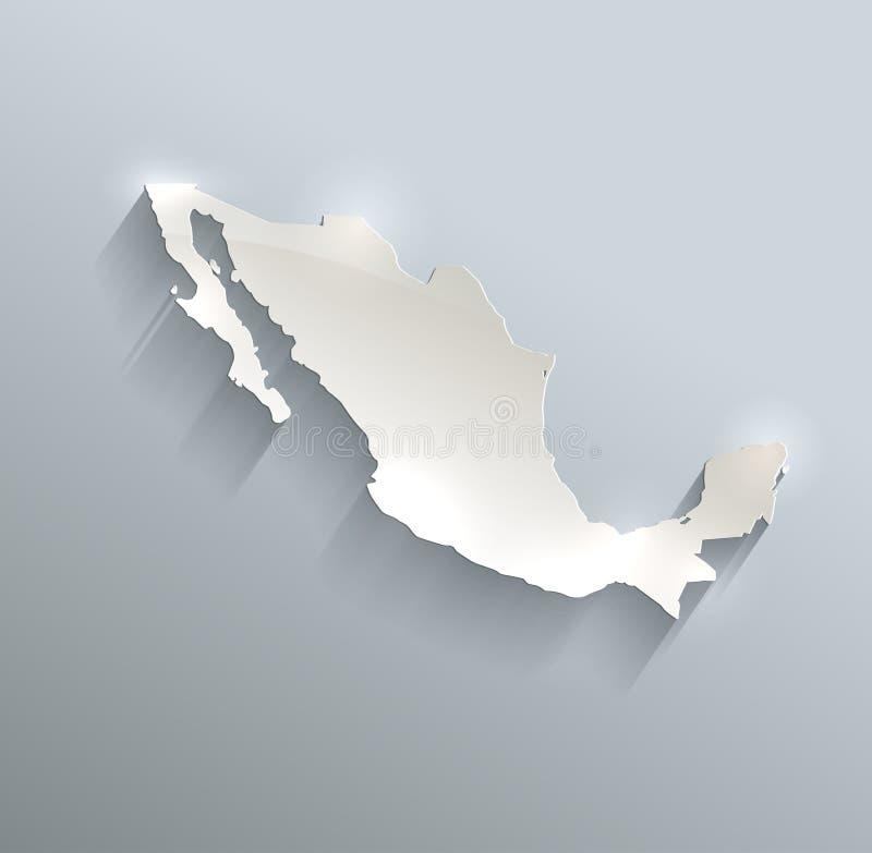 3D document van de de kaart het blauwe witte kaart van Mexico stock illustratie