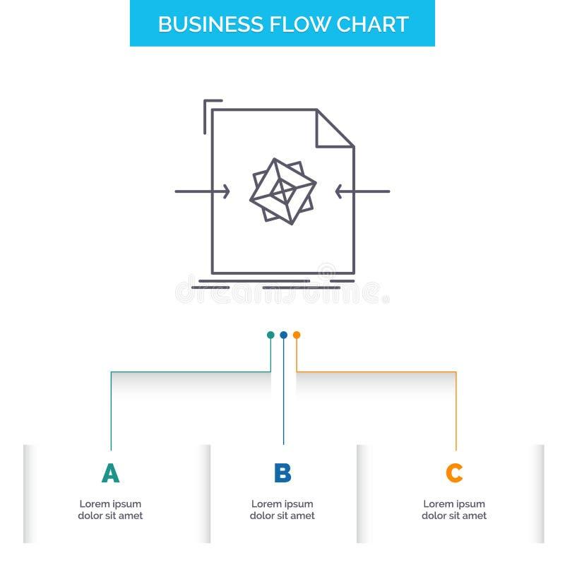 3d, documento, arquivo, objeto, processando o projeto do fluxograma do negócio com 3 etapas Linha ?cone para o molde do fundo da  ilustração stock