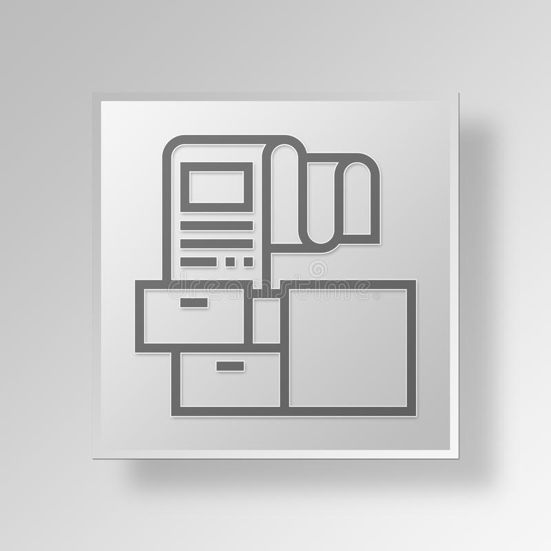 3D documents drawer icon Business Concept. 3D Symbol Gray Square documents drawer icon Business Concept stock illustration