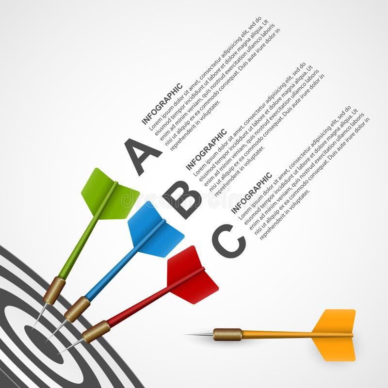 3d doel van het concepten infographic malplaatje met pijltjes stock illustratie
