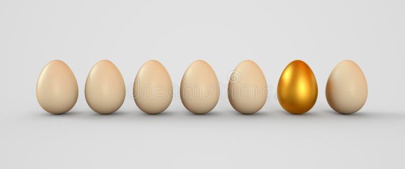3d doff белизна рядка золотистой иллюстрации factures яичек яичка реалистическая Пасхальные яйца 3d закрепляя легкую редактируя и иллюстрация штока