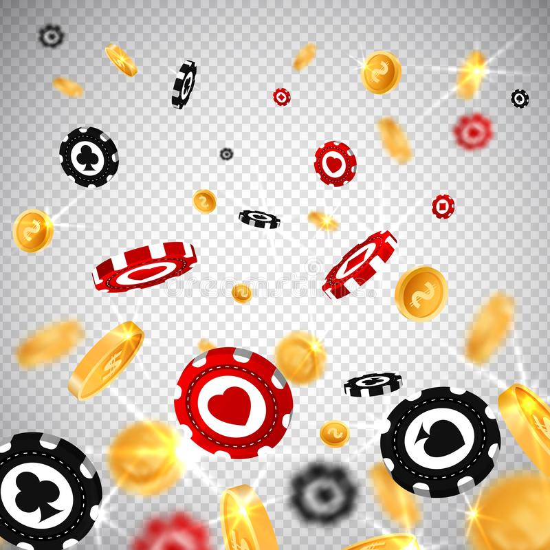 3d dollar gold coins,holdem poker chips falling in realistic style,big win jackpot game vegas casino concept,transparent royalty free illustration