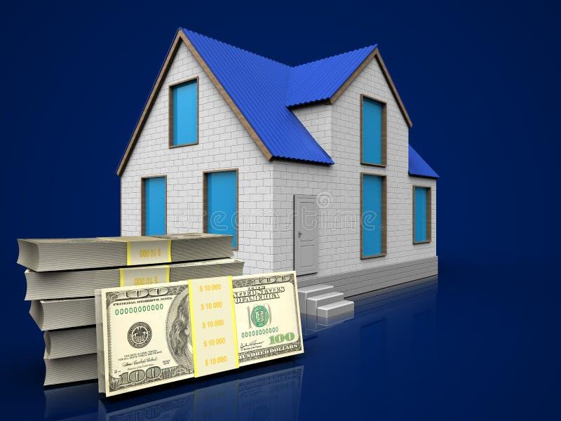 3d dollars over dark blue stock illustration
