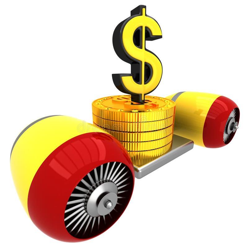3D Dollarteken op vliegende motor royalty-vrije illustratie
