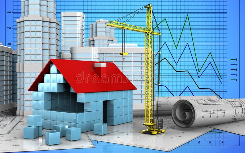 3d dom blokuje budowę ilustracji
