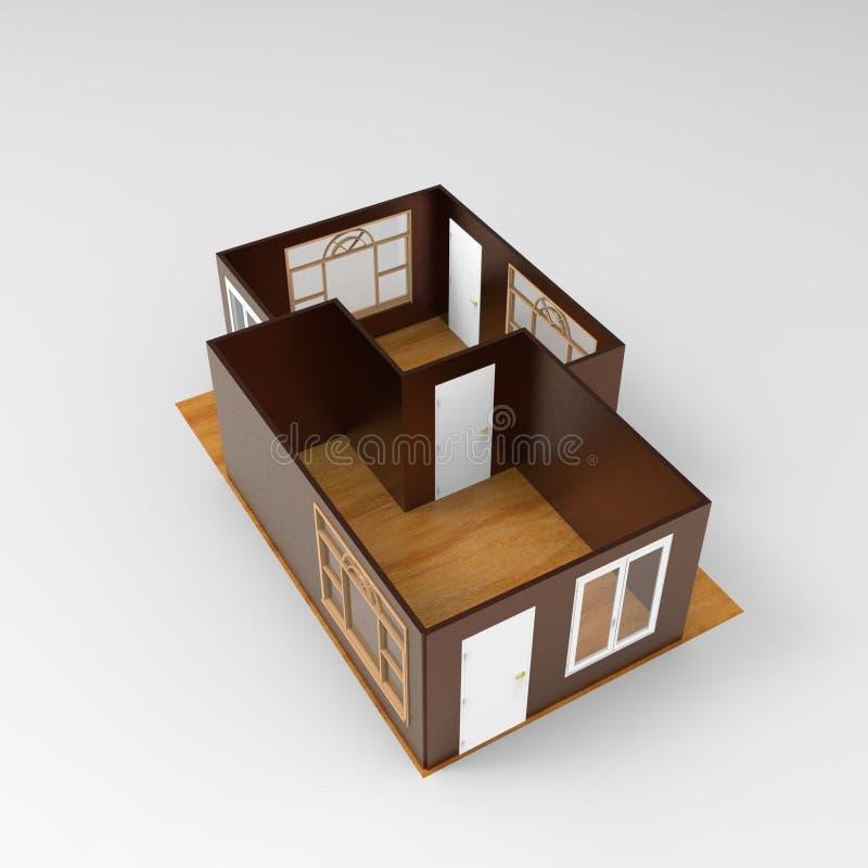 3D dom przestrzeni rendering royalty ilustracja