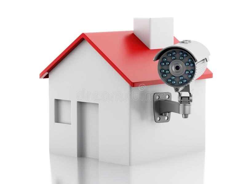 3d dom z ochrony CCTV kamerą ilustracja wektor
