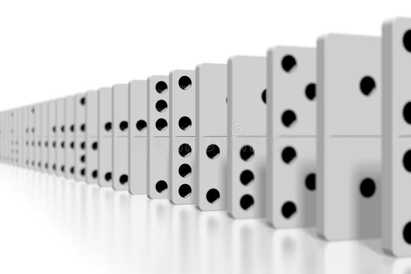 3D dominós blancos - foco selectivo ilustración del vector