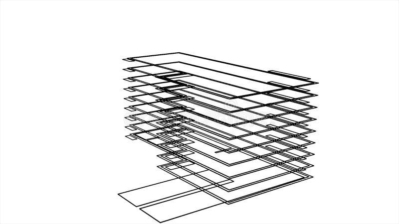 3D domu nowo?ytny model w wczesnej fazie buduje poj?cie i projektuje projekt, animacja Schematyczny widok ilustracja wektor