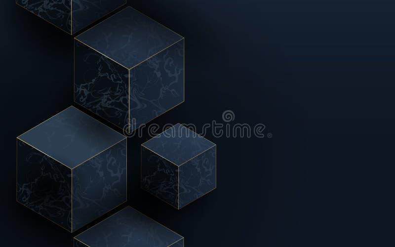 3D donkerblauwe kubussen en Marmeren textuur Abstracte luxeachtergrond stock illustratie
