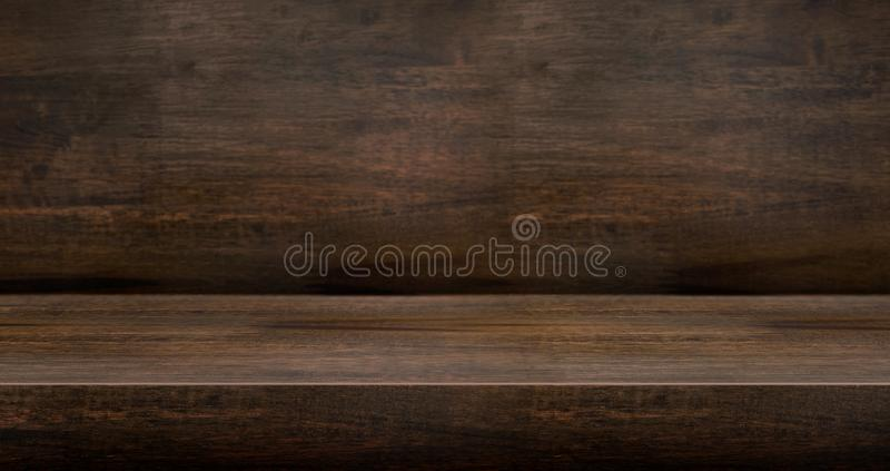 3D donkere houten achtergrond van de lijststudio geweven voor productvertoning met exemplaarruimte voor vertoning van inhoudsontw royalty-vrije stock fotografie