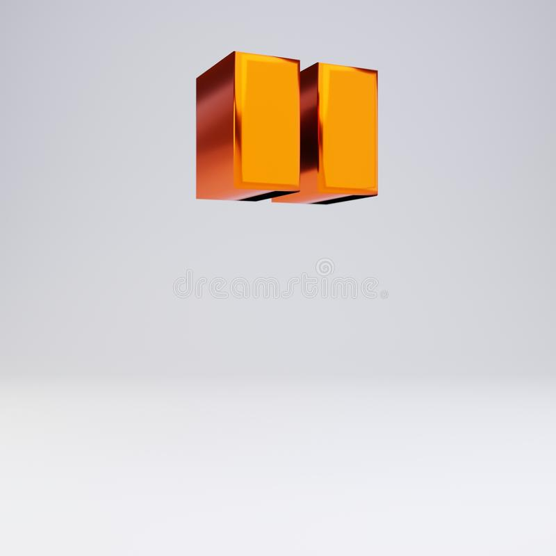 3d double quotes symbol. Hot orange metallic font with glossy reflections and shadow isolated on white background. Shiny metallic hot orange double quotes symbol stock illustration